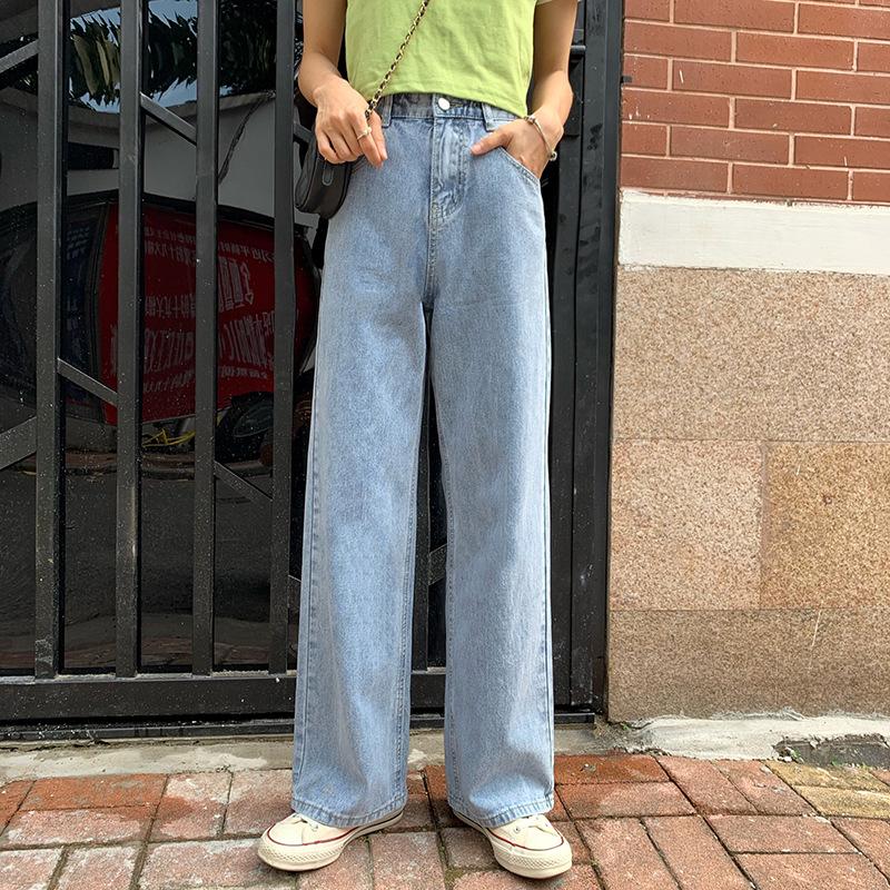 NONGPIN Thời trang Quần lửng ống rộng cạp cao quần jeans nữ 2020 mùa thu mới thả lỏng quần lọt khe h