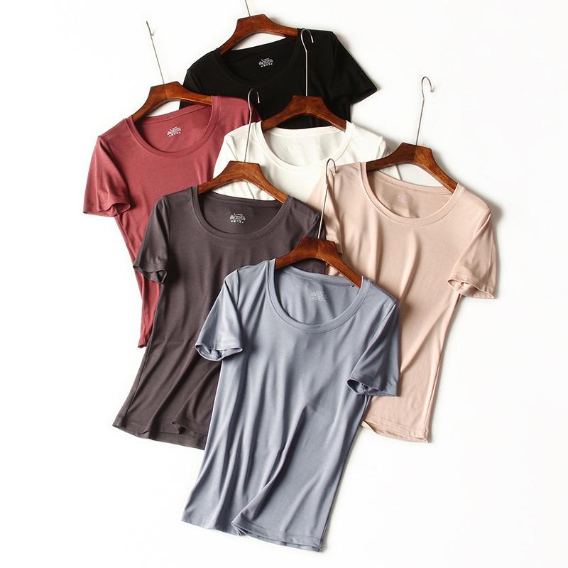 áo thun 2020 Áo thun nữ mới 60S Lenzing Modal Round Cổ nữ tay áo ngắn Thời trang co giãn Dưới áo dài