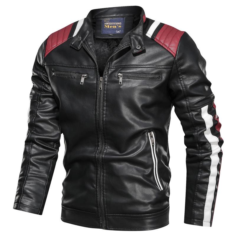 Áo khoác da nam màu sắc giản dị xu hướng giản dị cổ áo đứng mùa xuân và mùa thu áo khoác da trẻ trun
