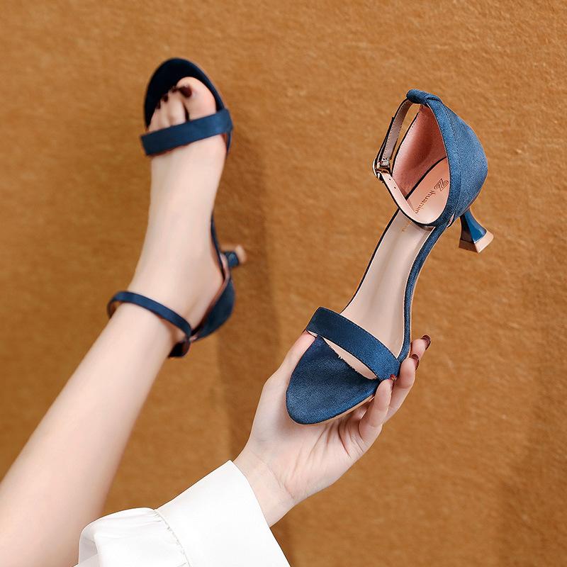 QFMY Giày nữ trào lưu Hot Dép nữ kiểu chữ La Mã với giày cổ tích Mỡ cao gót MM cao gót mịn gót chân