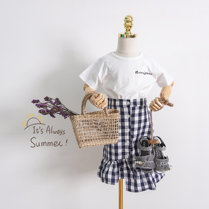 KEKEXIONG Đồ Suits trẻ em Áo thun nữ tay ngắn mùa hè và váy ngắn cho bé quần áo hai dây