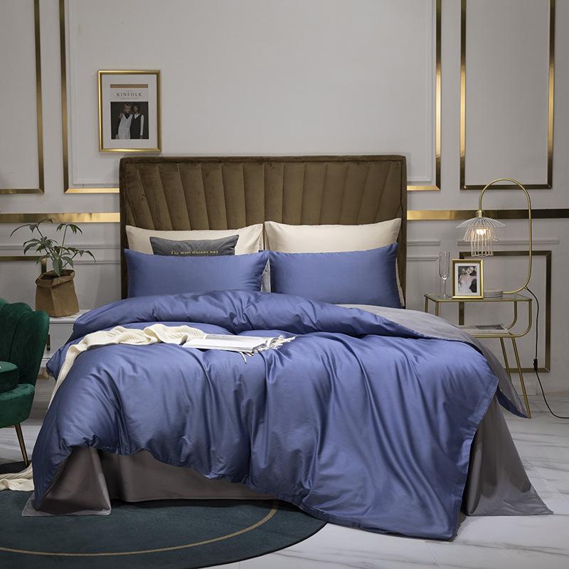 AFY Bộ drap giường 60 bộ bông mới tinh khiết ba mảnh của vải dệt gia đình màu tinh khiết Bắc Âu đơn