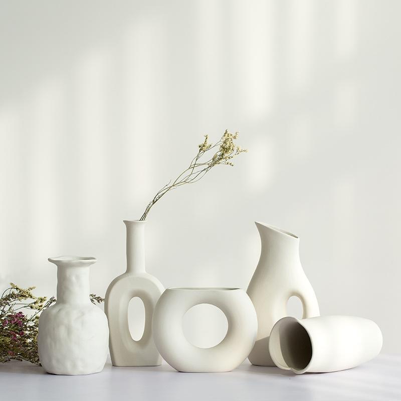 CJSH Đồ trang trí bằng gốm sứ Bình gốm trắng hoa khô phòng khách nhỏ tươi cắm hoa đầy sao bàn ăn tra