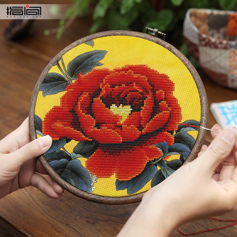 JINHAO Tranh thêu chữ thập Tay thêu tự làm gói vật liệu chéo khâu in màu không thêu ruy băng thủ côn
