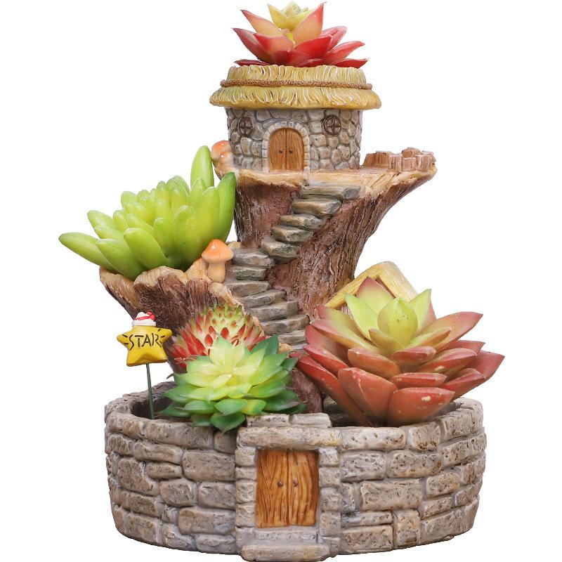 Ngôi nhà gỗ chậu bông sáng tạo cây nhỏ vùng vườn mà có đồ trang trí sứ thiên văn