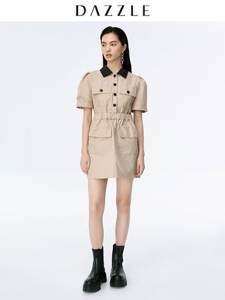 DAZZLE Phong cách Hàn Quốc 2020 hè mới công cụ áo sơ mi rộng eo cao Kiểu váy OL 2C2O4301L