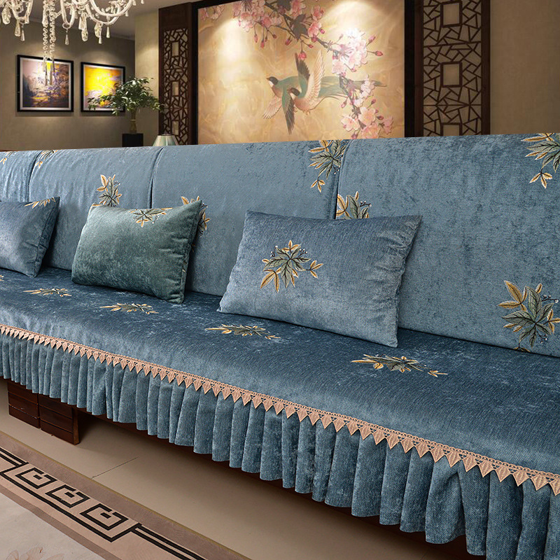 New Chinese solid wood four seasons universal chenille embroidery professional custom non-slip sofa