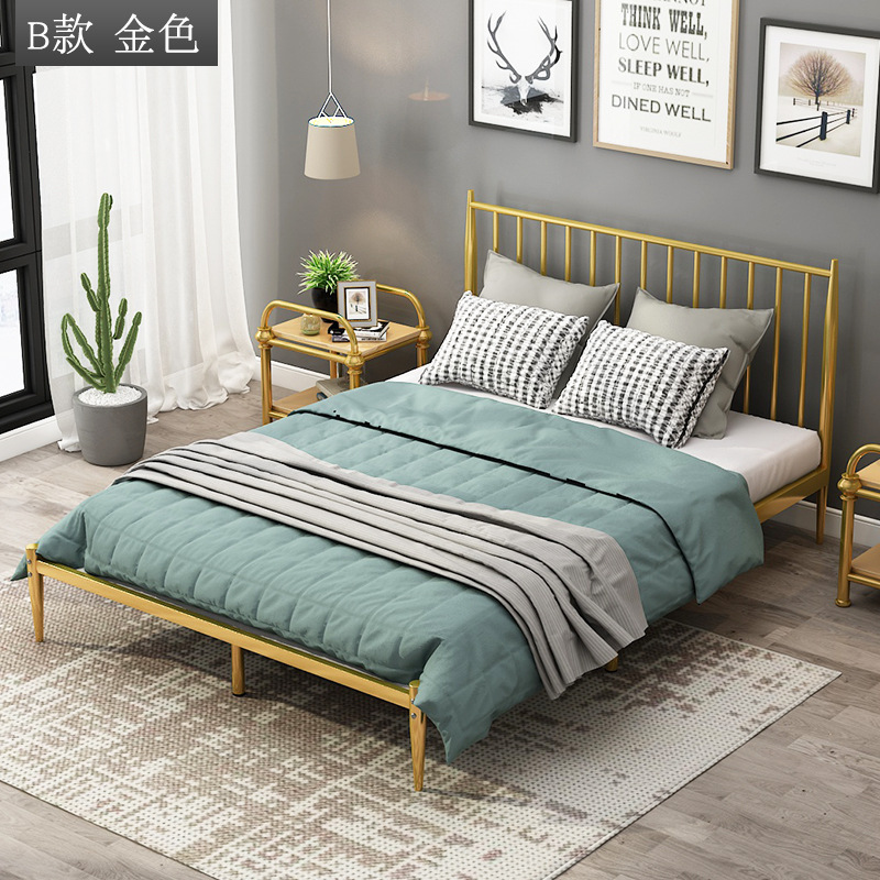 CAISEFENG Iron bed modern minimalist iron bed sheet person 1.2 meters ins net red dormitory apartmen
