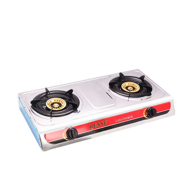 Desktop stainless steel double-head gas stove household gas stove energy saving and environmental pr