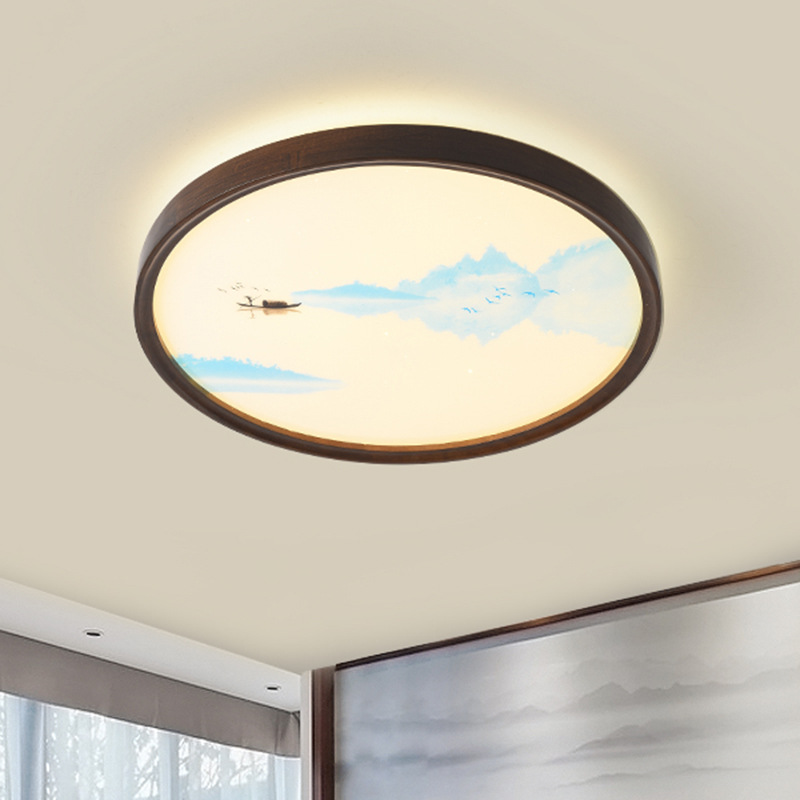 New Chinese bedroom lamp creative oak ceiling lamp Zen tea house hotel private room Chinese lamp war