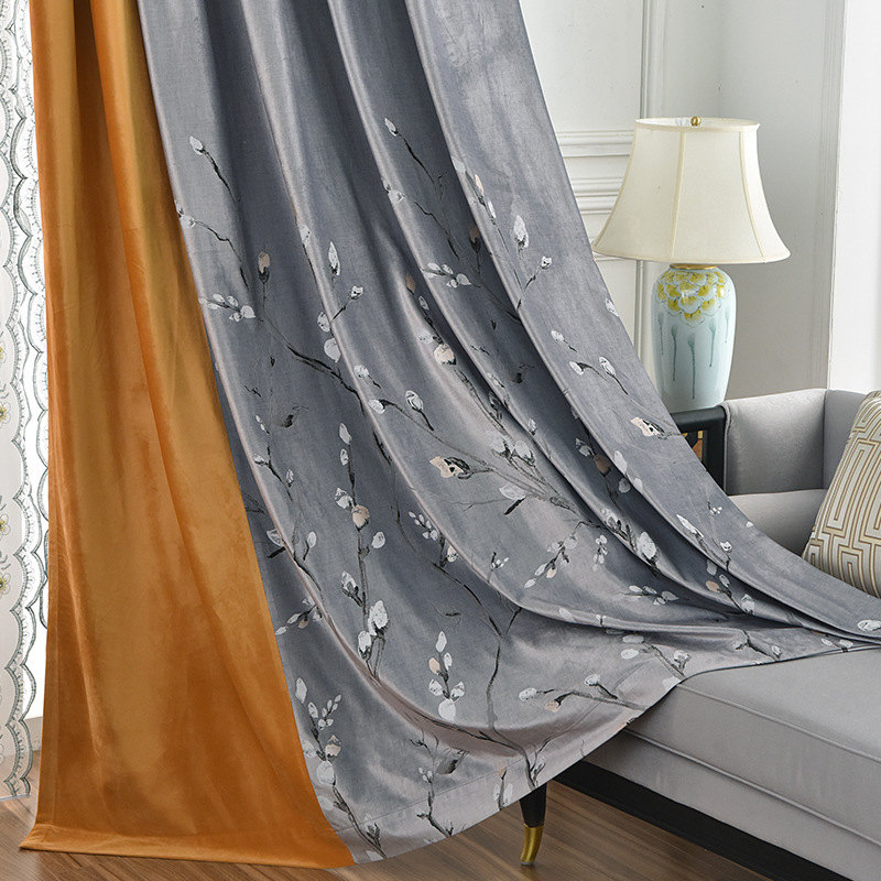 LEIHAO Solid color modern minimalist kapok flannel curtain cloth embroidery bedroom stitching curtai