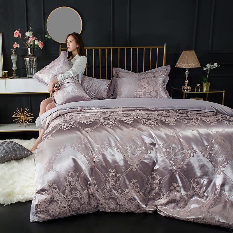 Bộ drap giường Bông phong cách châu Âu Tribute jacquard bốn mảnh đồng bằng bộ đồ giường chăn bông ba