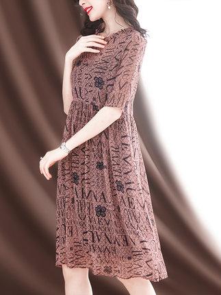 Phong cách Hàn Quốc Váy lụa nữ mùa hè 2020 mới ngắn tay dài vừa vặn