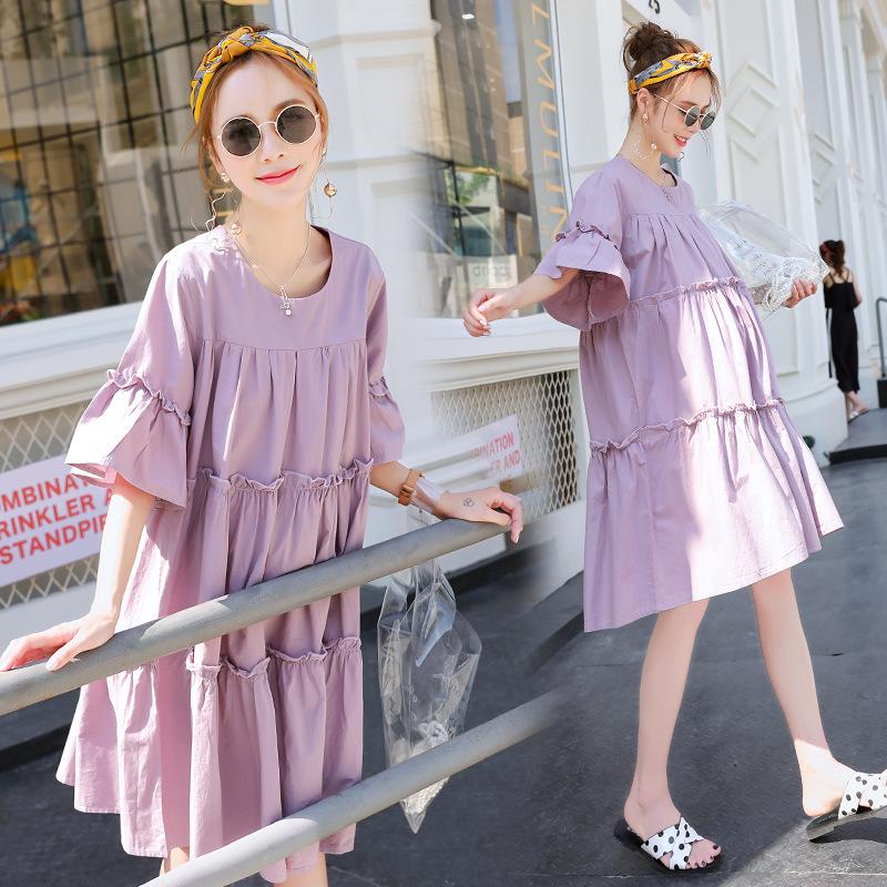 DAIXIONG Trang phục bầu Váy thời trang dành cho bà mẹ mùa hè Đầm bầu mới cho bà bầu Váy cotton màu c