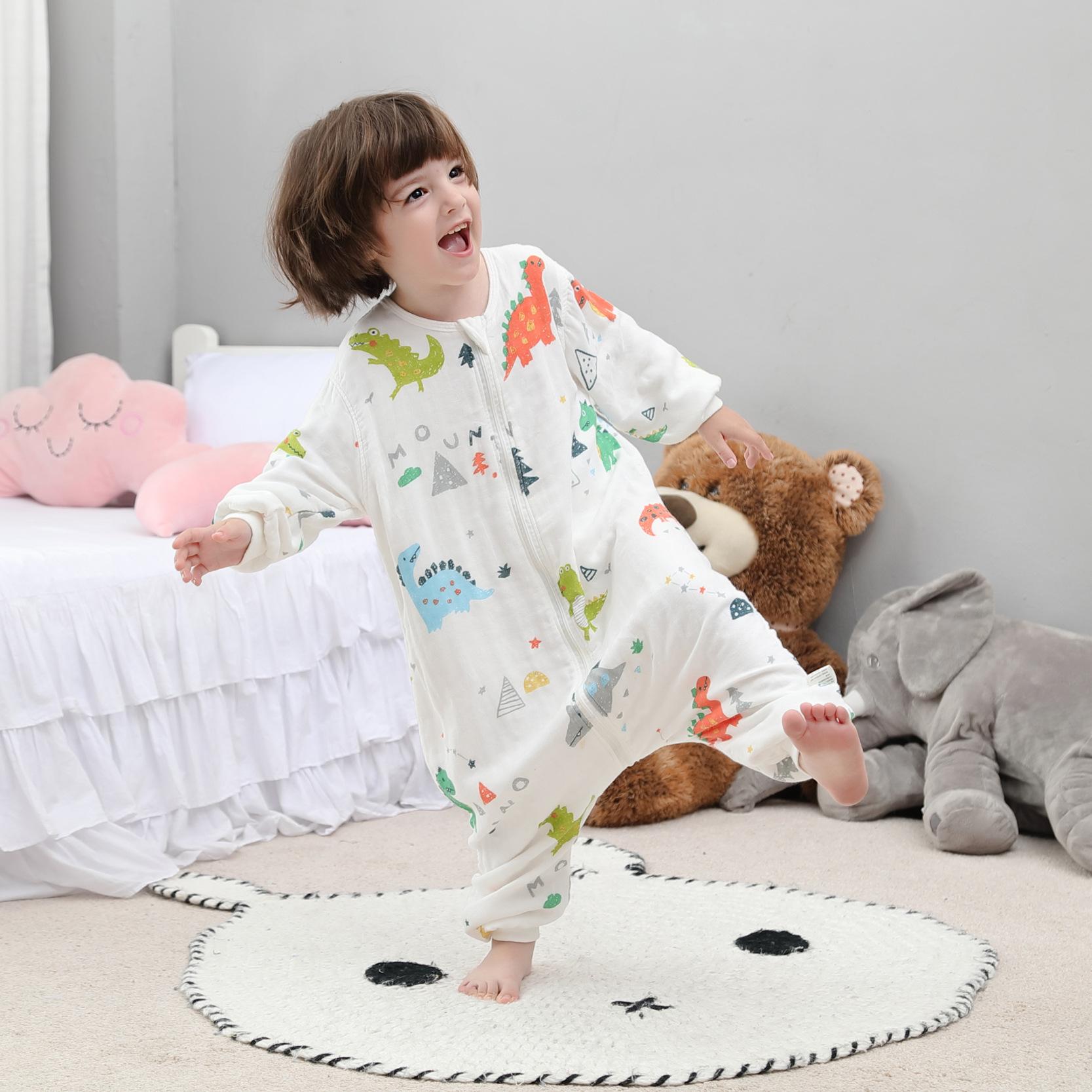 Túi ngủ trẻ em Túi ngủ cho bé gầy mùa hè mỏng mùa xuân và mùa thu cotton nguyên chất bốn mùa bé chẻ