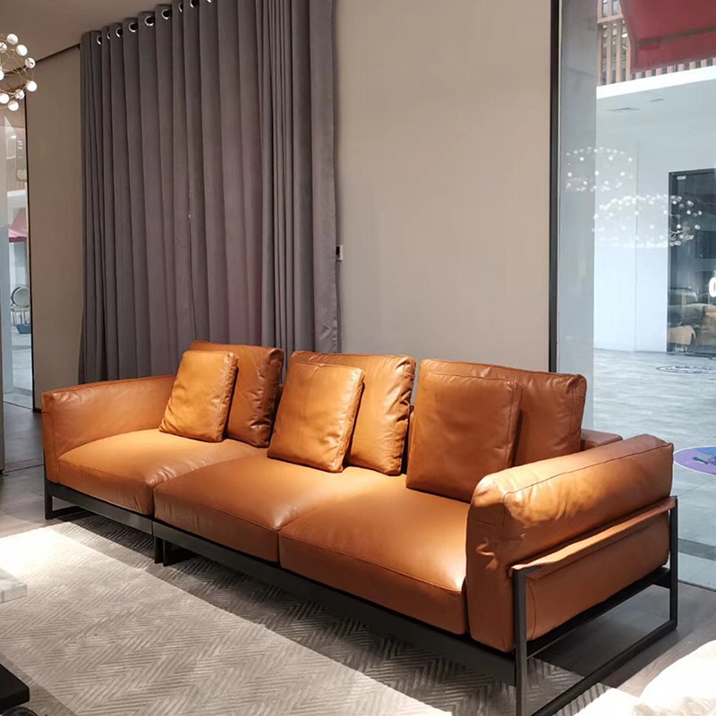 SOUGU Italian light luxury leather sofa in-line four-person ultra-soft down imported Nappa Nordic mi