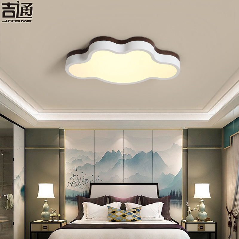 New Chinese children's ceiling lamp cloud cute boy and girl bedroom Chinese style black walnut colo