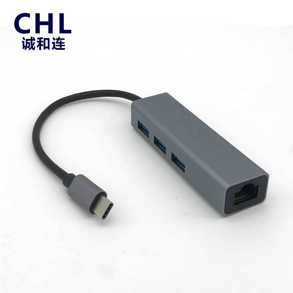 CHL Drive-free Type-c USB 3.1 to Gigabit RJ45 network card+3.0HUB RTL8153B+RTS5411