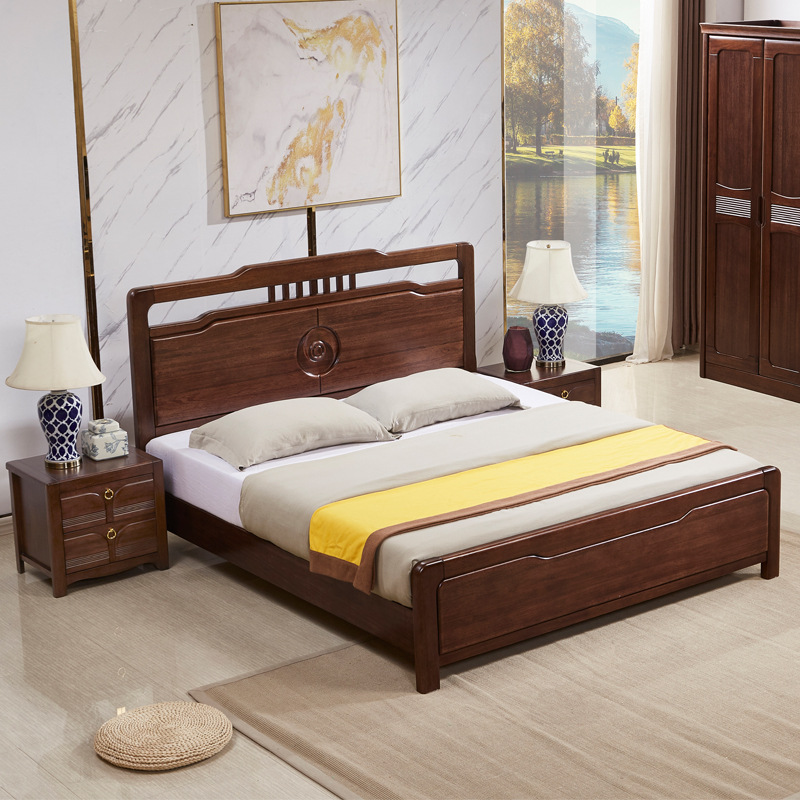 HXMY Modern minimalist gold sandalwood solid wood bed new Chinese style solid wood bed 1.8 meters do