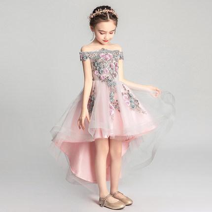 Váy trẻ em, váy công chúa, sợi lông của bé gái, hoa cô gái, váy cưới nhỏ, sinh nhật, sàn catwalk kiể