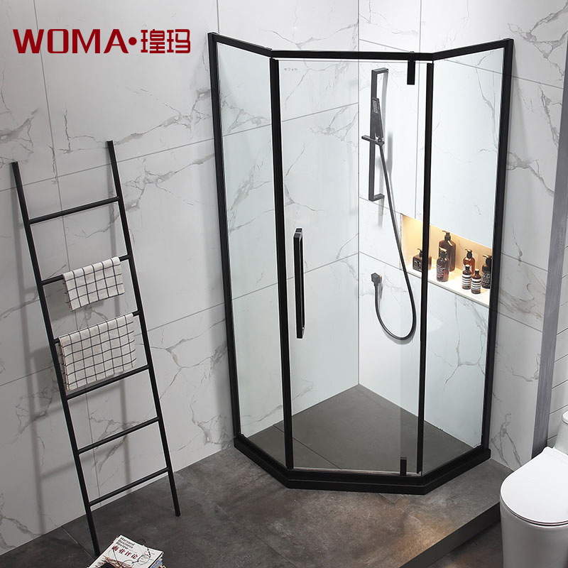 WOMA Mayan black stainless steel diamond type shower room overall bathroom toilet glass household dr