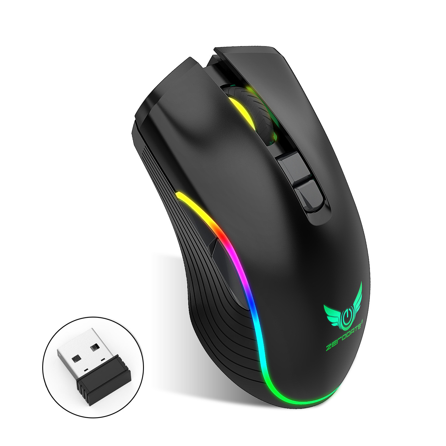 Zerodate T26 2.4G wireless mouse TYPE-C rechargeable interface seven-button gaming mouse RGB luminou