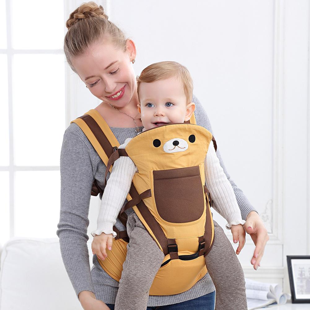BABYKLI Đai cõng bé Phim hoạt hình gấu bé sling bé sơ sinh phía trước ôm ngang đa chức năng ôm bé tạ