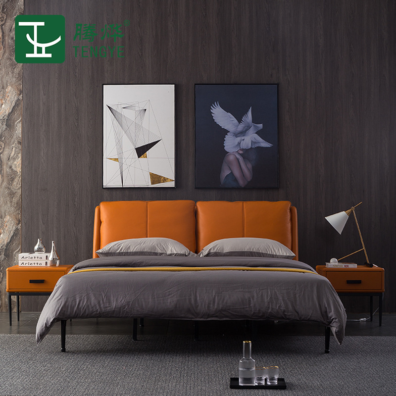 TENGYE Light luxury leather bed modern minimalist master bedroom 1.8m double Italian minimalist smal