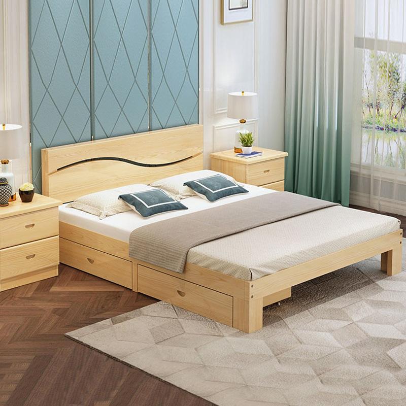 YAZHI Solid wood bed modern minimalist double bed master bedroom 1.8 meters economical wooden bed 1.