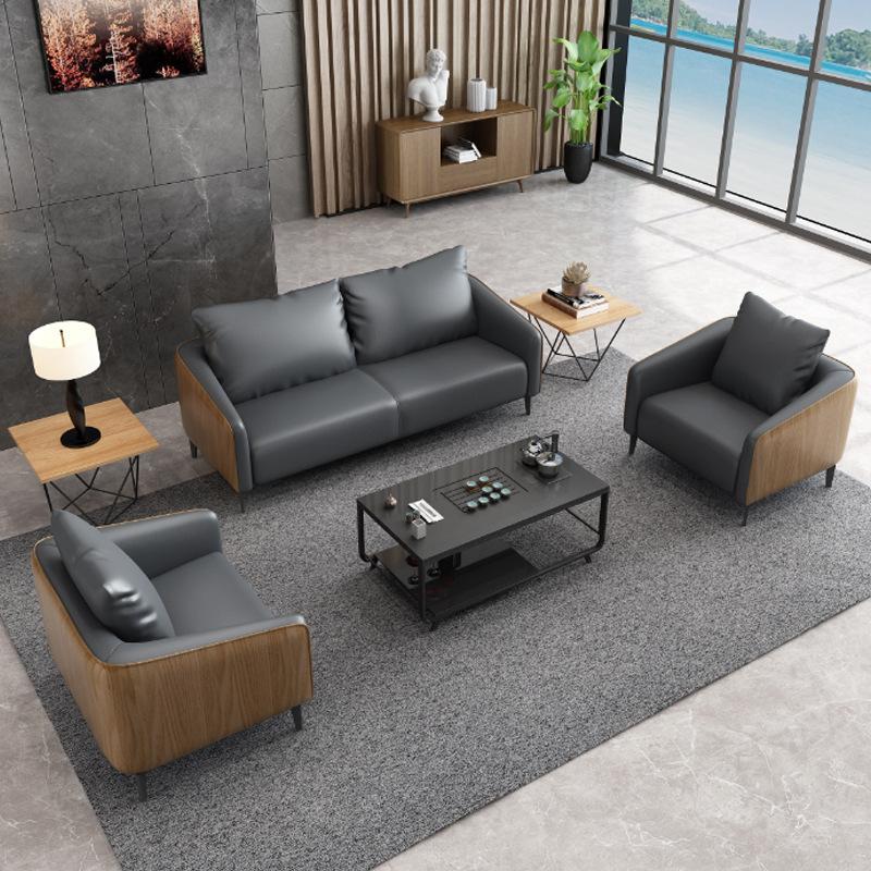 NAGU Simple modern office sofa business office three-person leather leisure reception parlor sofa co