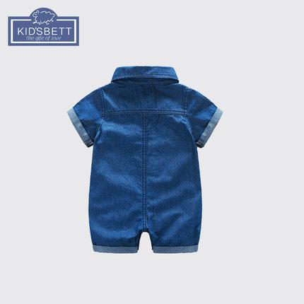 Trang phục Jean trẻ em  Quần áo bé trai mùa hè 0-1 tuổi bé trai denim romper tay ngắn một mảnh mùa h