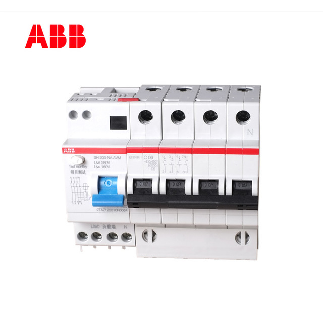 ABB miniature circuit breaker 40A household 3P+N6KA air switch with over-voltage and under-voltage C