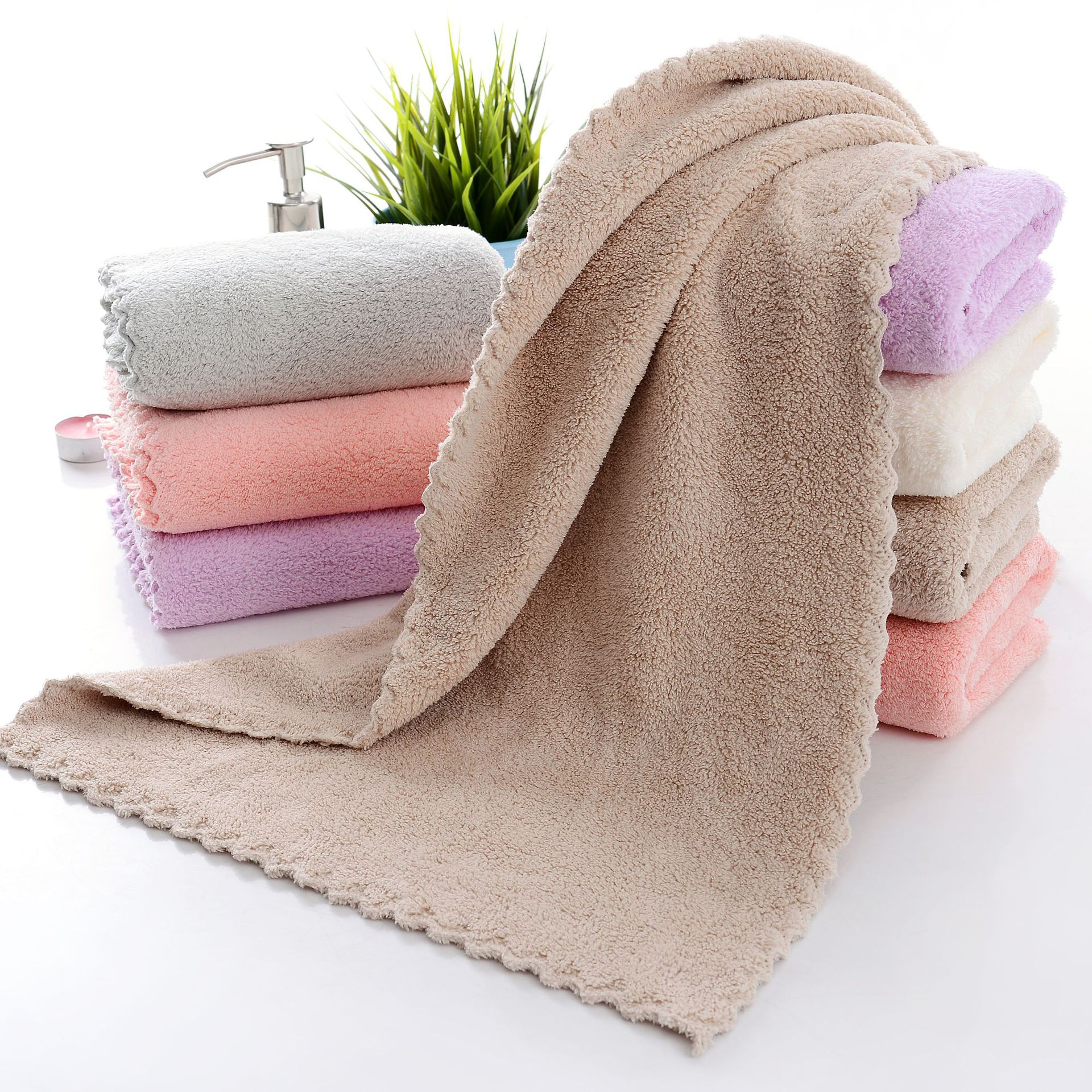 XIANGYUE Coral velvet cut edge towel plain wash face towel soft absorbent gift couples generally do