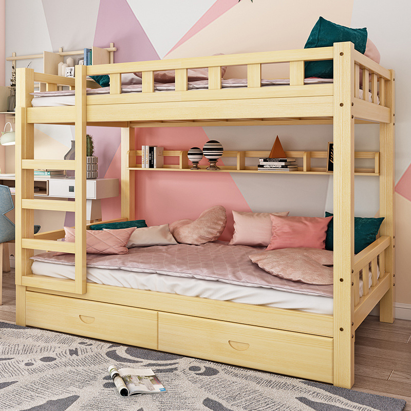 CHONGYOU All solid wood child and mother bed apartment bed children's bed adult school bedroom dorm