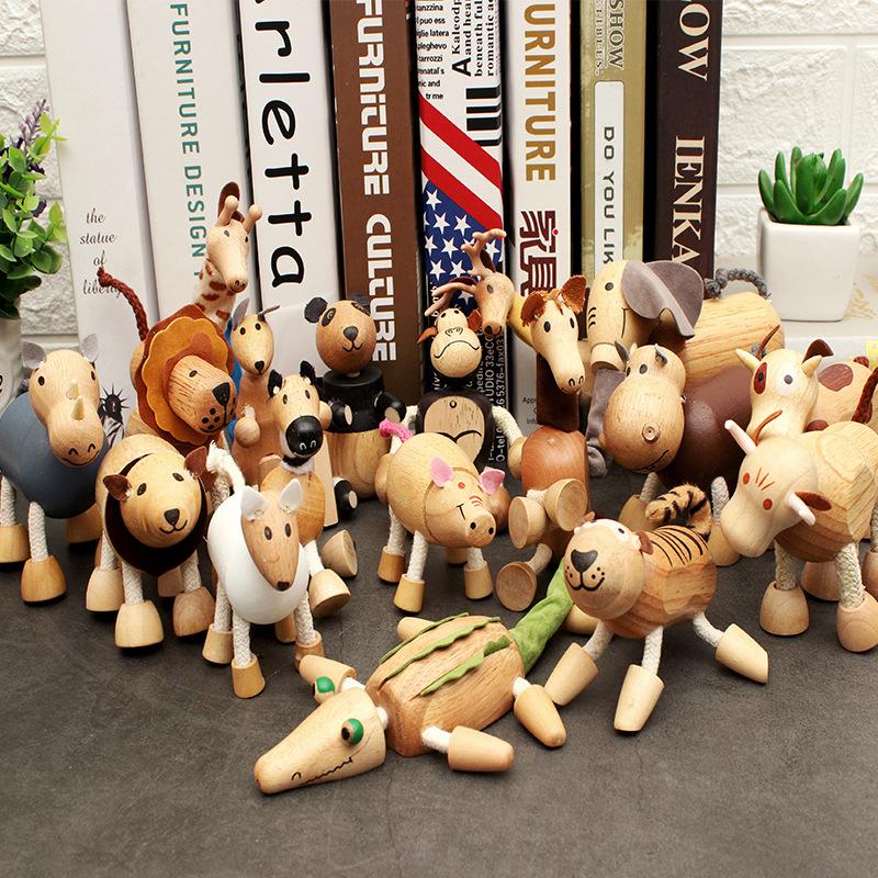 MUTE Đồ trang trí bằng gỗ Thủy triều gỗ rắn gỗ búp bê động vật nhỏ bằng gỗ mô hình con rối đồ chơi v