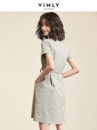 Phong cách Hàn Quốc Váy sơ mi cộc tay mùa hè buông lơi giản dị váy ngắn tay ngắn nữ trung dài váy Hà