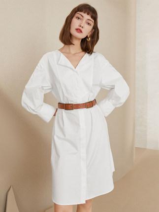 Fan Slanen Phong cách Hàn Quốc  Lantern Dress Dress Nữ mùa hè 2020 Áo sơ mi cổ chữ V mới Váy nữ rộng