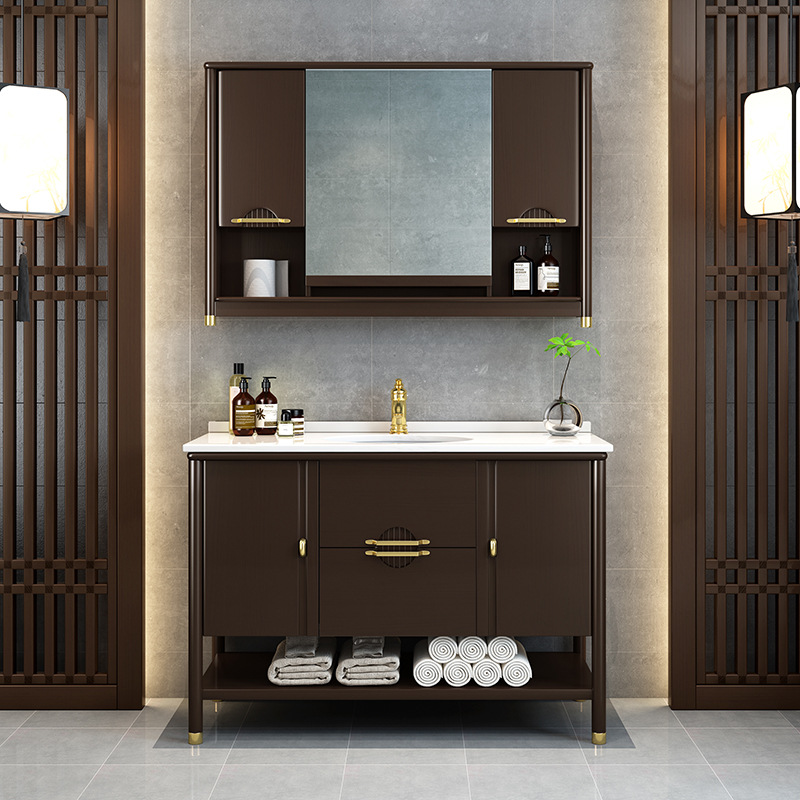 FENGMING Modern new Chinese style bathroom cabinet smart mirror combination floor-standing solid woo