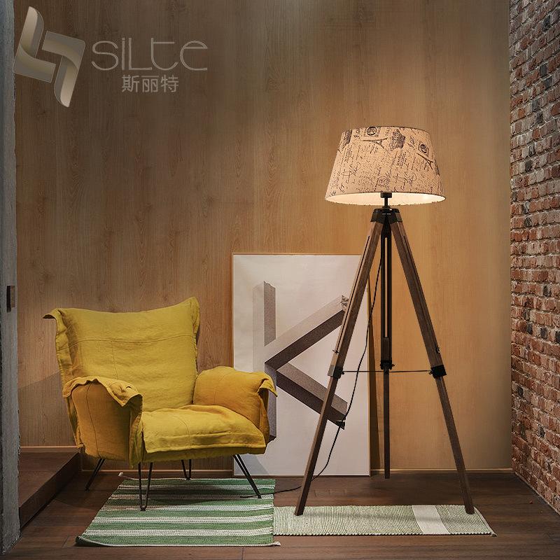 American retro three-legged wooden lamp floor lamp creative minimalist study bedroom living room flo