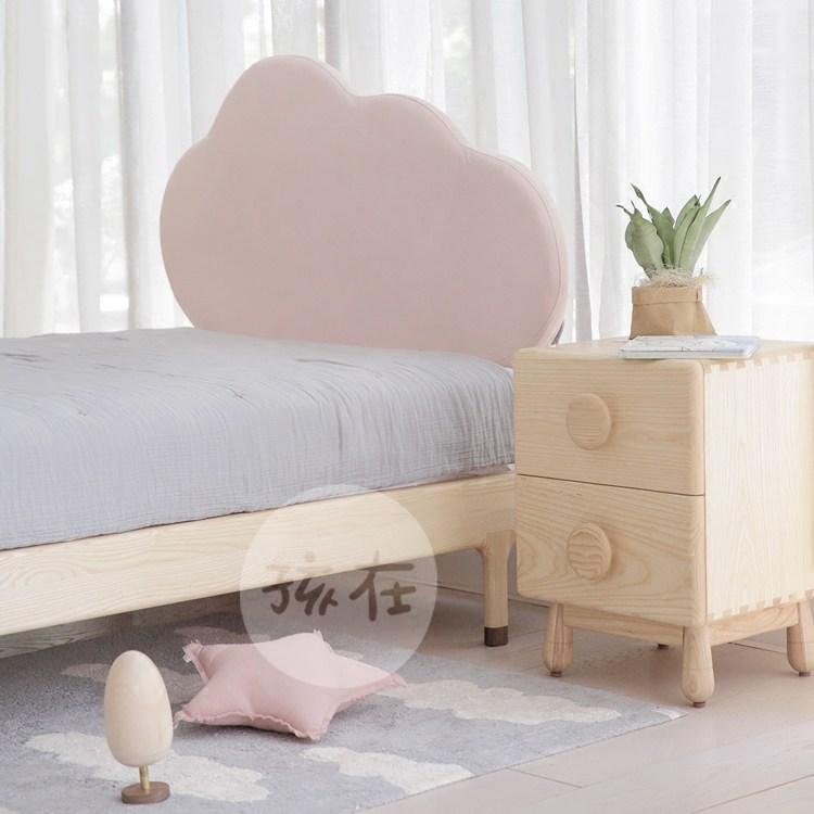 Trẻ con trên hình dạng trên giường mây sáp trắng 1.21.5m túi mềm hậu túi gỗ đầu giường bằng gỗ