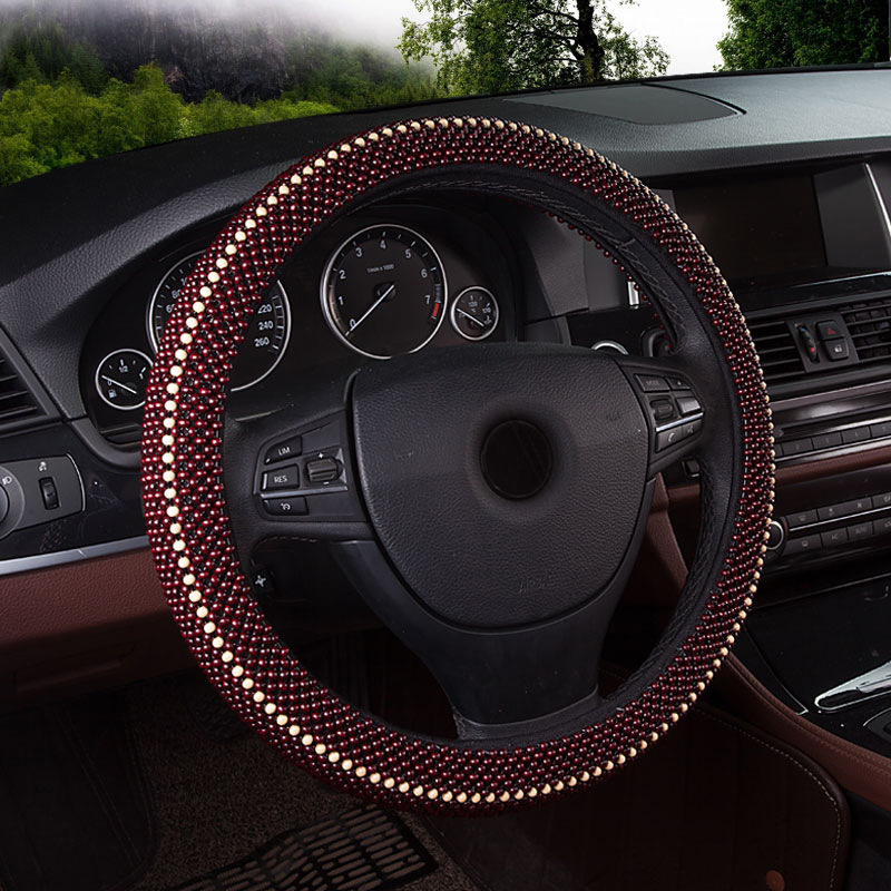 JINSHOUYI Da bọc vô lăng New wooden bead steering wheel cover four seasons rosewood handle cover sum