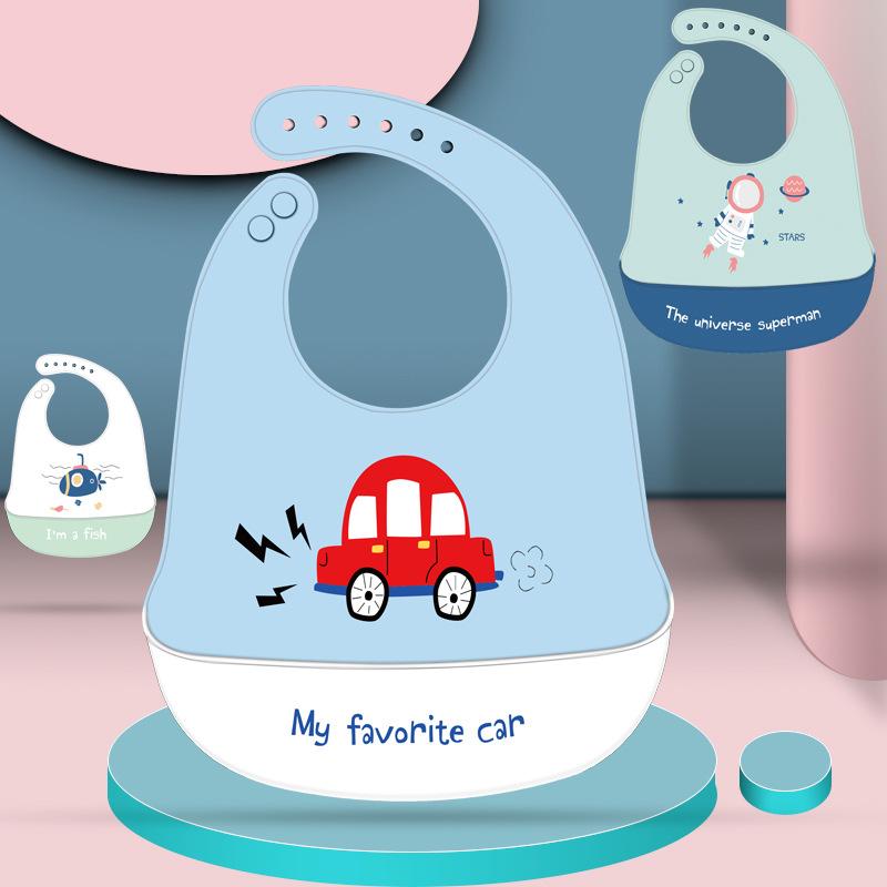 Khăn yếm Tùy chỉnh bé silicone bib bé bữa ăn không thấm nước ba chiều túi bib trẻ em trẻ em nước bọt