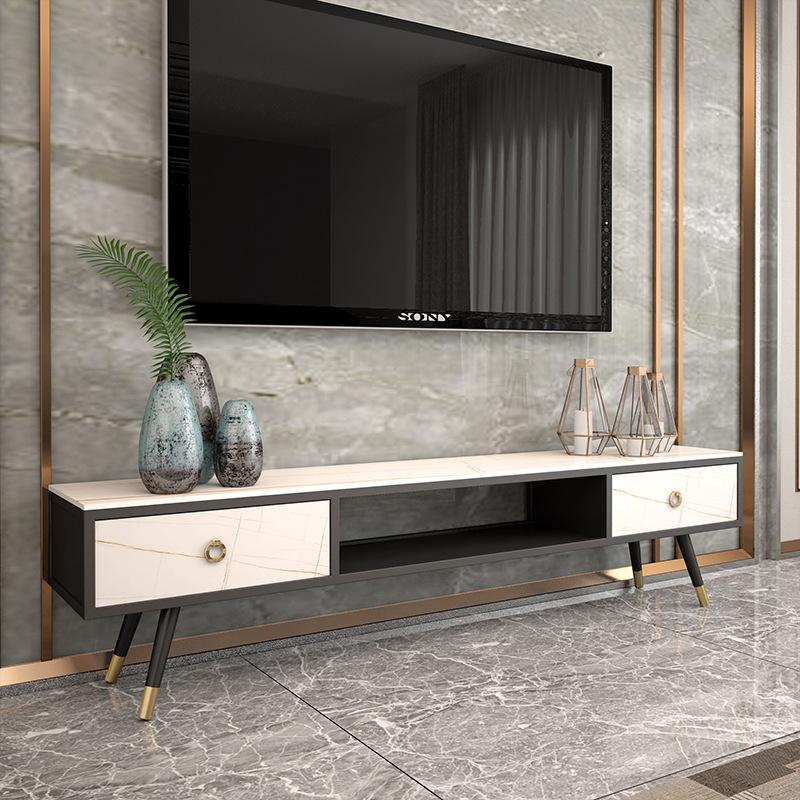 TIEZHIYIN Nordic slate coffee table TV cabinet combination small apartment living room home TV cabin