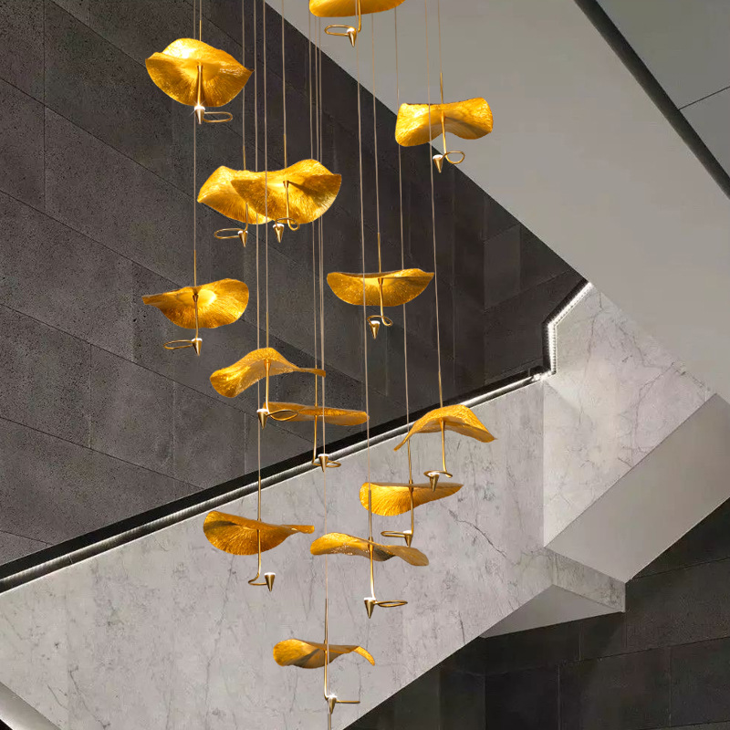 Zen new Chinese style full copper lotus leaf chandelier light luxury double staircase lamp villa din