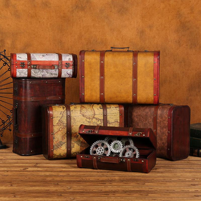 GUSHIFU Đồ trang trí bằng gỗ Vali gỗ phong cách châu Âu, đạo cụ chụp vali kiểu cũ, hộp gỗ cổ như đồ