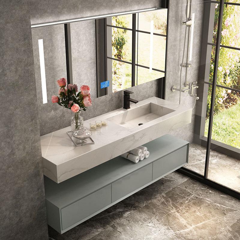 Slate one basin modern minimalist light luxury bathroom cabinet combination Nordic washbasin washbas
