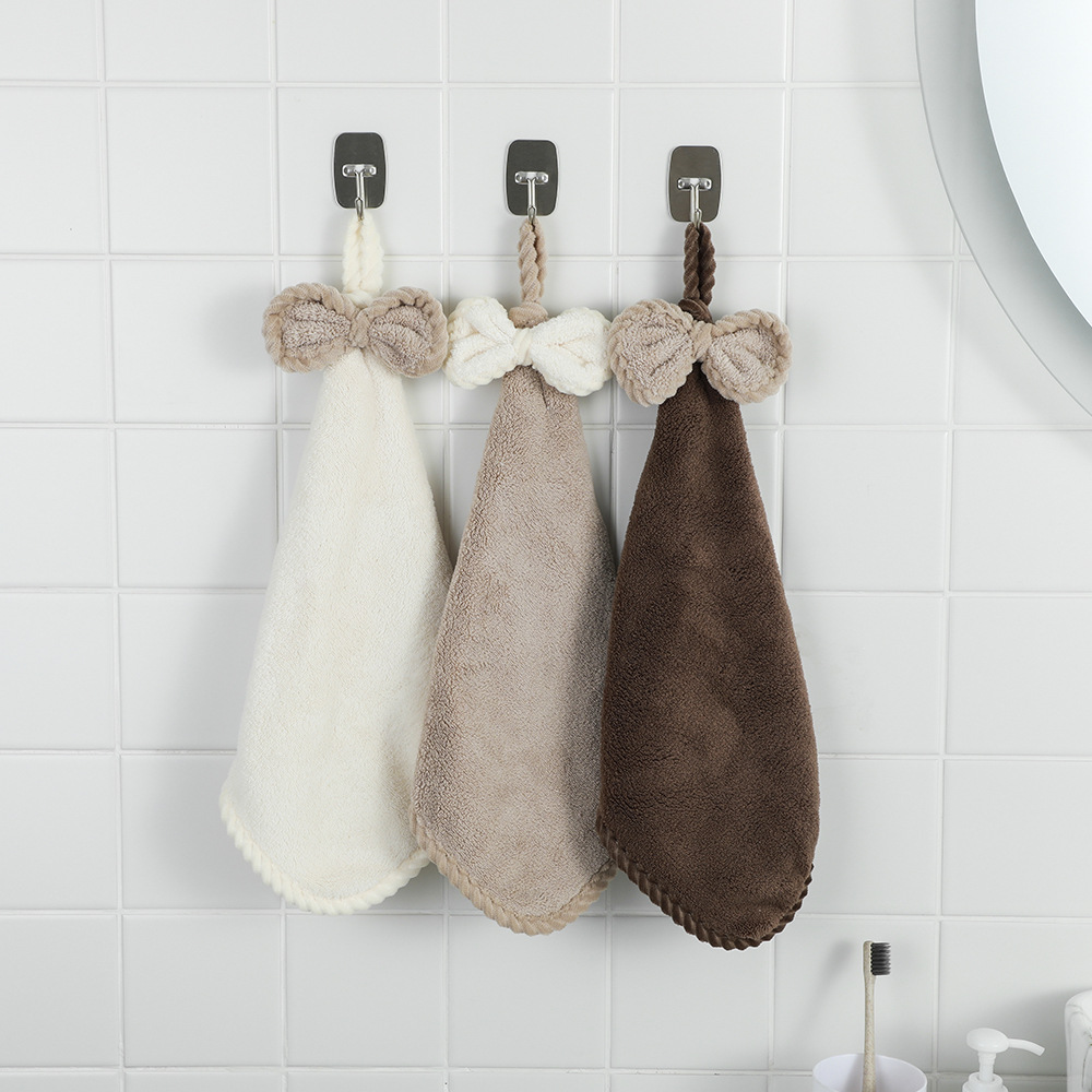 XZN HOME Coral velvet bowknot wipes super absorbent towels cross-border kitchen household adult chil