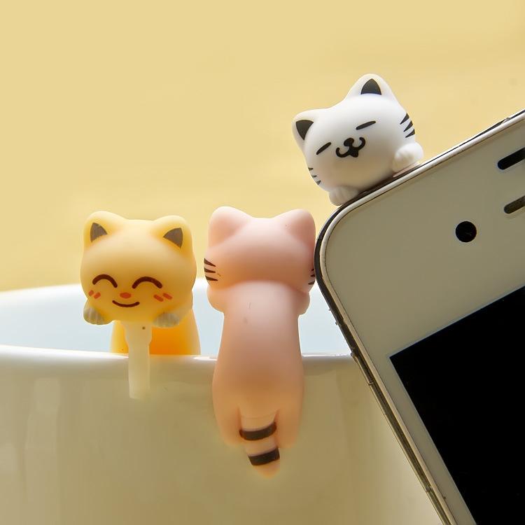 LAOZHEN plugy squat climbing hip 807 cat phone dust plug mobile phone animation cartoon dust plug
