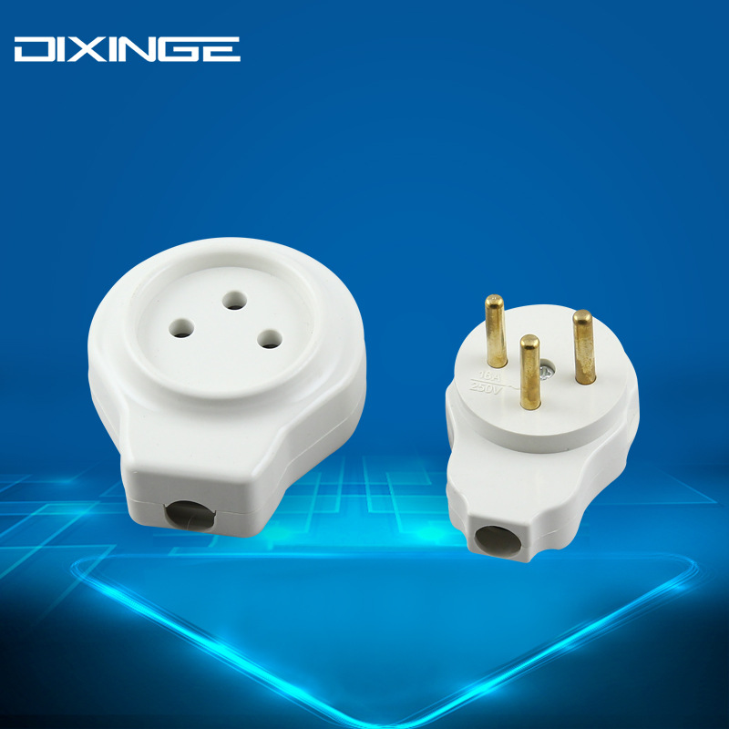 DIXINGE Israel wiring plug white 16A standard Israel assembly cylindrical male and female butt three