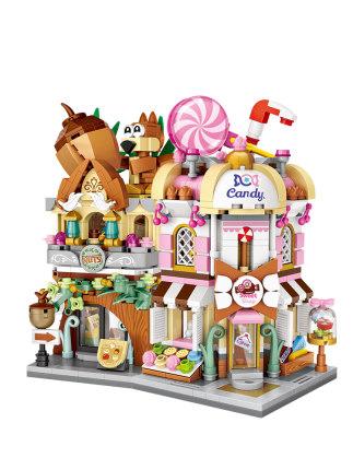 LOZ /Bộ đồ chơi rút gỗ   Li Zhi khối xây dựng hạt nhỏ mini xem câu đố đường phố chèn cô gái lắp ráp